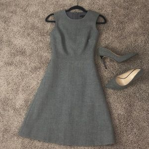 J. Crew Heather Grey wool a-line career dress 000